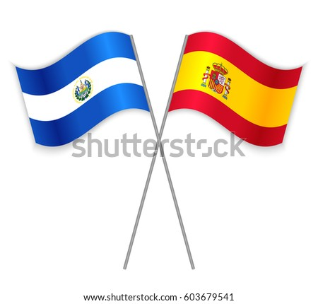 Salvadoran spanish crossed flags el salvador stock vector 603679541 salvadoran and spanish crossed flags el salvador combined with spain isolated on white language freerunsca Image collections