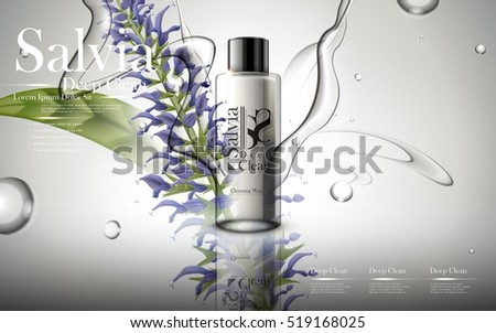 salvia cleaning water contained in transparent  bottle, grey background, 3D illustration