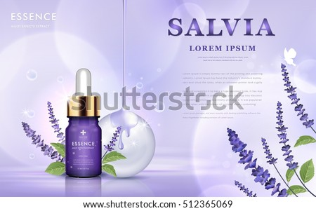 Salvia cosmetic ads, essence bottle with purple salvia and oil dripping from top, 3d illustration