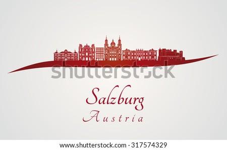 Salzburg skyline in red and gray background in editable vector file - stock vector
