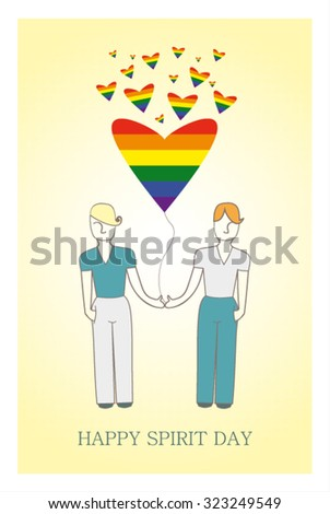 Same-sex marriage vector illustration. Gay couple gay hot air balloon in the shape of a heart and rainbow. Love wins. Happy spirit day - stock vector