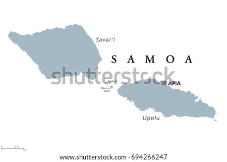 samoa political map with capital apia and english labeling independent state and island country in