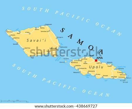 Samoa Political Map Capital Apia Important Stock Vector - Map samoa