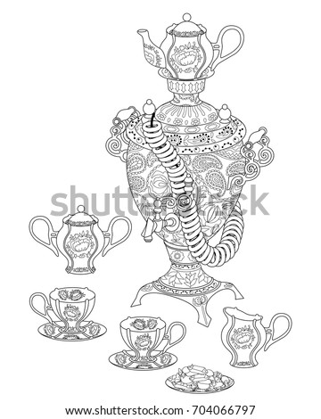 Adult Antistress Coloring Page With Russian National Dishes Black White