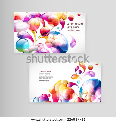 Sample business card with bright teardrop-shaped arches. - stock vector