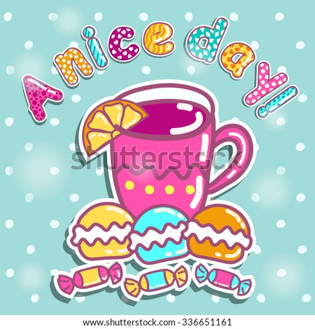 Sample cards with a cup of tea and sweets - stock vector