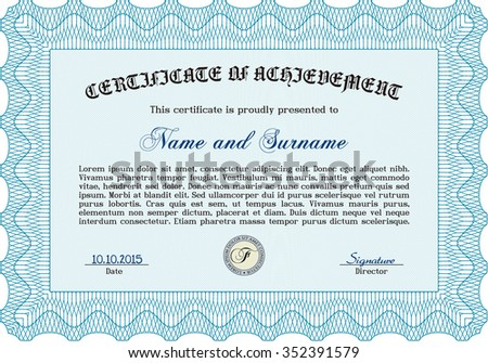 Sample certificate or diploma. Cordial design. Detailed.With complex background.