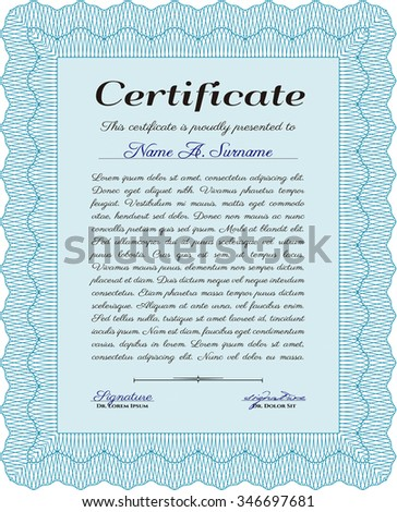 Sample certificate or diploma. With quality background. Vector pattern that is used in money and certificate.Nice design.