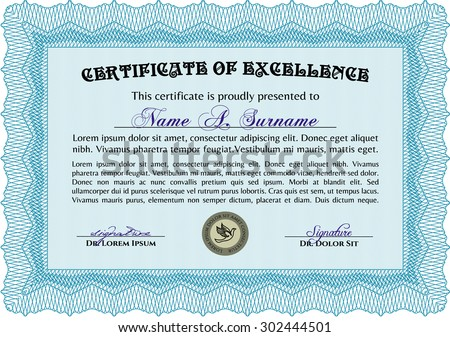Light Blue Certificate Template Diploma Template Stock Vector
