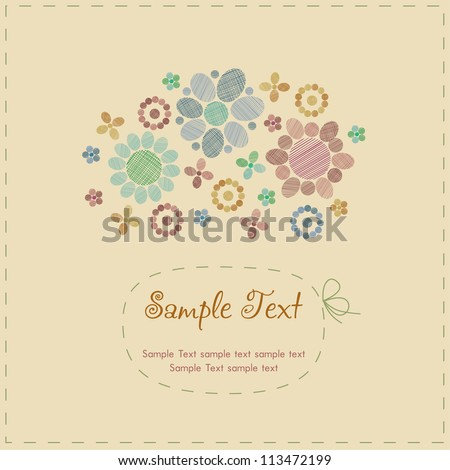 Sample cute romantic vintage greeting card with stylized flowers, round decorative elements and place for your text. Template with text frame for design and decoration - stock vector