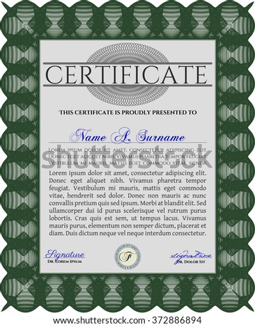 Sample diploma frame certificate template vector stock vector sample diploma frame certificate template vector with linear background elegant design green yelopaper Images