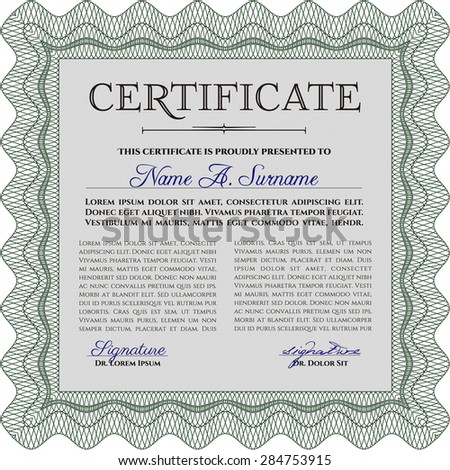 Sample Diploma. Nice design. With background. Vector illustration.