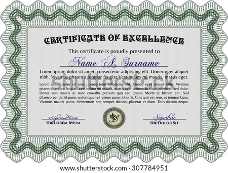 Sample Diploma. With great quality guilloche pattern. Superior design. Border, frame.