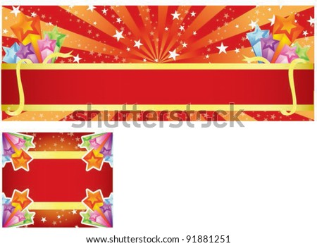 Sample for Festival Banner or Happy Shopping Event on red shiny background - stock vector