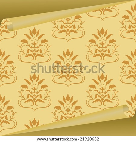 Sample of a fabric with drawing. Vector illustration