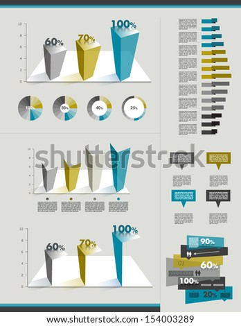 Sample page. Charts, graphs for info graphics. - stock vector
