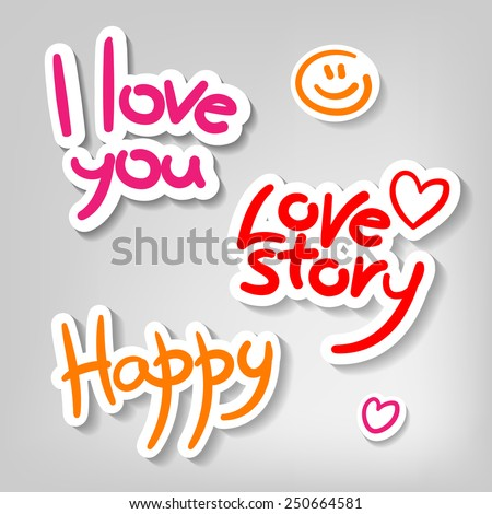 sample text - I love you, love story, happy - design templates - stock vector