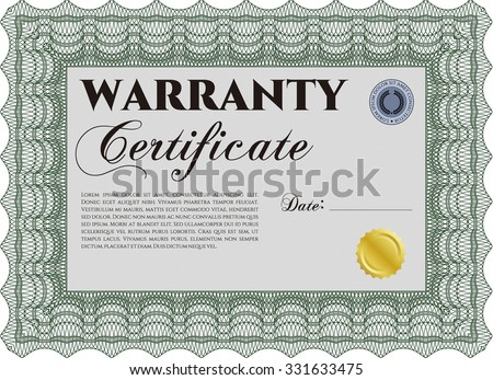 Sample Warranty certificate. Easy to print. Complex border design. Vector illustration.  - stock vector