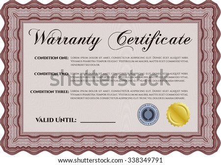 Sample Warranty certificate. It includes background. Very Detailed. Complex frame design.