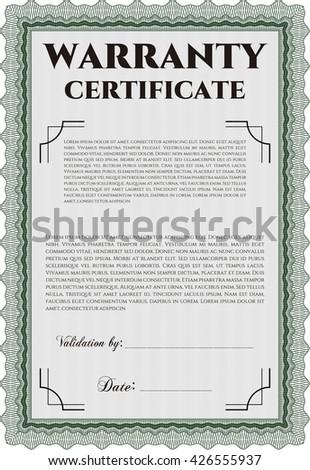 Sample Warranty Certificate Template Elegant Design Stock Vector