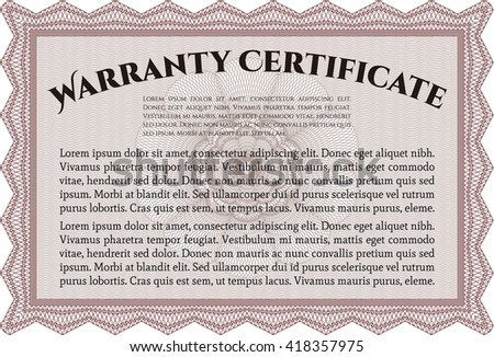 Sample Warranty certificate template. Elegant design. With guilloche pattern. Vector illustration.