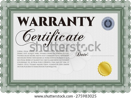 Sample Warranty certificate template. Perfect style. With sample text. Complex frame design.  - stock vector