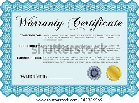 Sample Warranty certificate template. Very Customizable. With sample text. Complex frame.