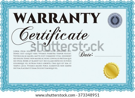 Sample Warranty certificate template. With guilloche pattern and background. Vector illustration. Elegant design.  - stock vector