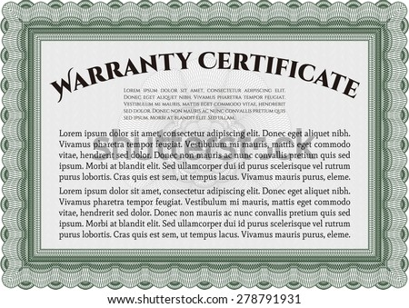 Sample Warranty certificate. Very Customizable. Easy to print. Complex frame.  - stock vector