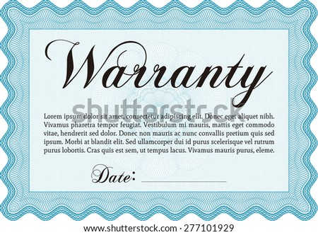Sample Warranty certificate. With sample text. Vector illustration. With background.   - stock vector