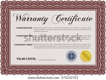 Sample Warranty template. Retro design. With guilloche pattern.