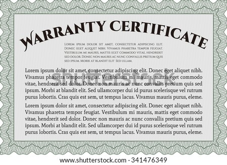 Sample Warranty template. Retro design. With sample text. Complex design.