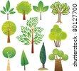 Samples of various tree species in various styles - stock vector