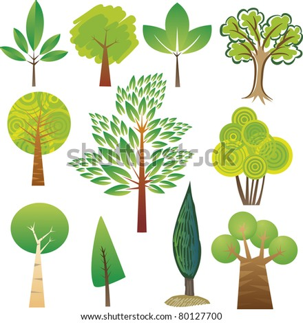 Samples of various tree species in various styles - stock vector