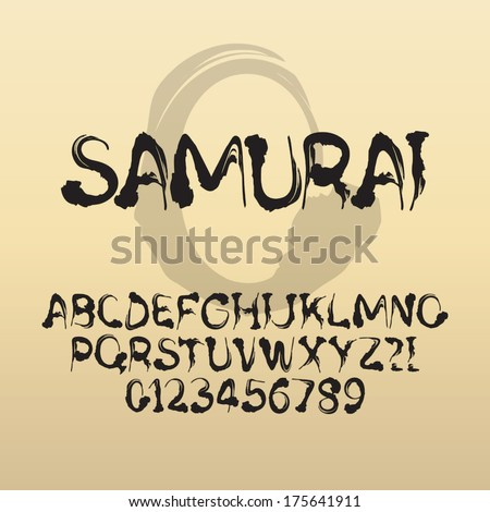 Samurai, Abstract Japanese Brush Font and Numbers, Eps 10 Vector Editable - stock vector