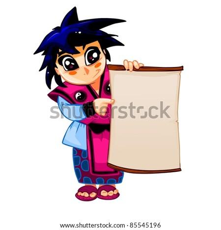 Samurai holding blank sign - stock vector