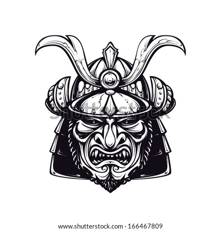 Samurai mask clip-art. Black and white version isolated on white. Japanese traditional martial mask. Vector EPS 10 illustration.  - stock vector