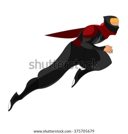 Samurai Ninja Jumping Red Black Cartoon Vector - stock vector