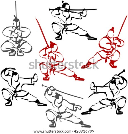 Samurai practiced in karate, they are holding katanas and fighting with swords; Set of ninjas; Hand-drawing; Eps8 - stock vector