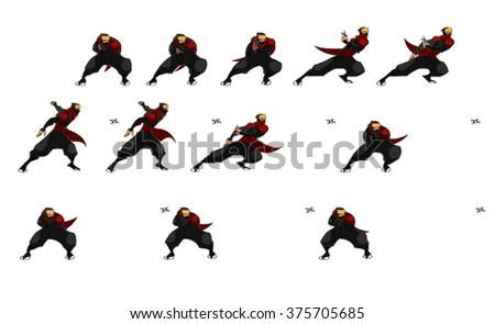 Samurai Set Cartoon Vector - stock vector