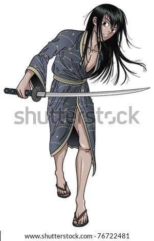 Samurai Stance - stock vector