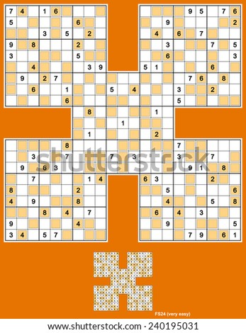 Samurai Sudoku with even-odd variant. Five overlapping sudoku puzzles. Full symmetry. 101 clues. Very easy. - stock vector