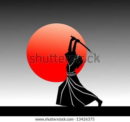 samurai (vector) - stock vector