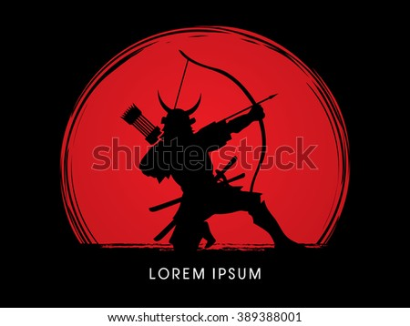 Samurai Warrior with bow, designed on sunset background graphic vector.