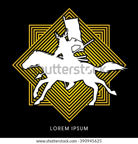 Samurai Warrior with Spear, Riding horse, designed on line sqaure background graphic vector. - stock vector