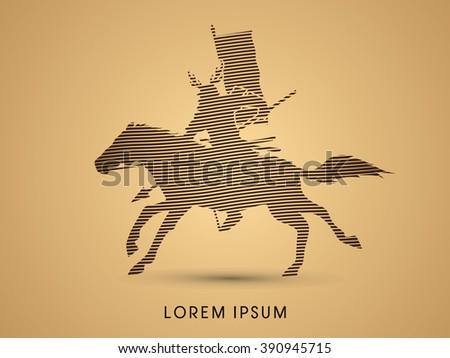 Samurai Warrior with Spear, Riding horse, designed using line brush graphic vector. - stock vector