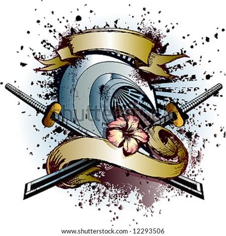 samurai wave emblem - stock vector