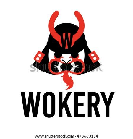 samurai wok logo element vector illustration stock vector rh shutterstock com samurai logistics mi samurai lego minifig