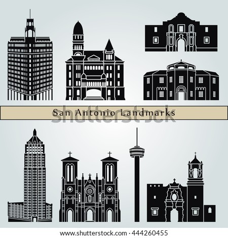 San Antonio landmarks and monuments isolated on blue background in editable vector file