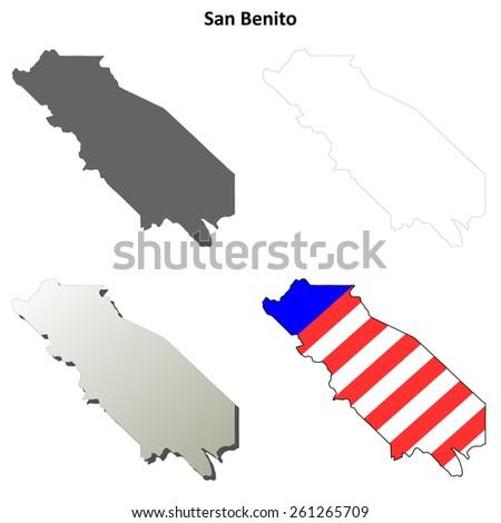 San Benito County (California) outline map set - stock vector